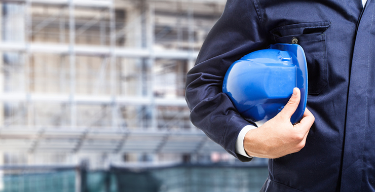 construction worker indicating construction law