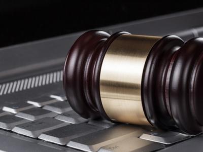 legal gavel on keyboard
