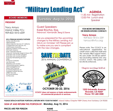 military lending act - credit unions